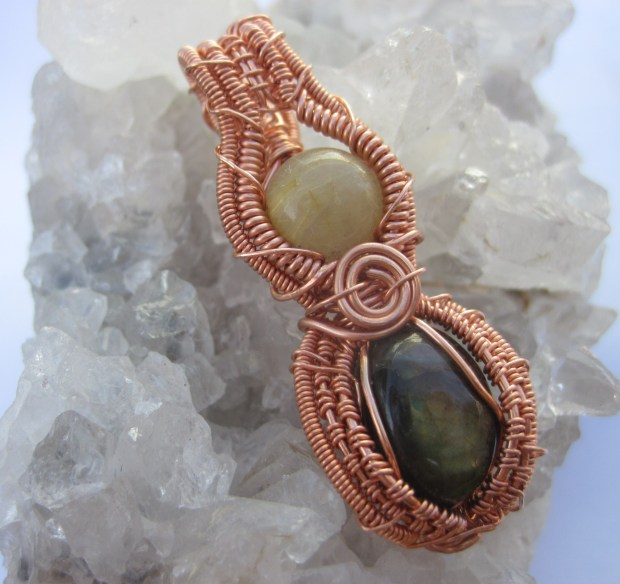 Rustic Elegance- Rutilated Quartz and Labradorite pendant in copper wire